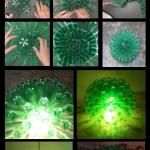 Lámpara realizada con 125 botellas de plástico de 33cl - Lamp made with 125 plastic bottles
