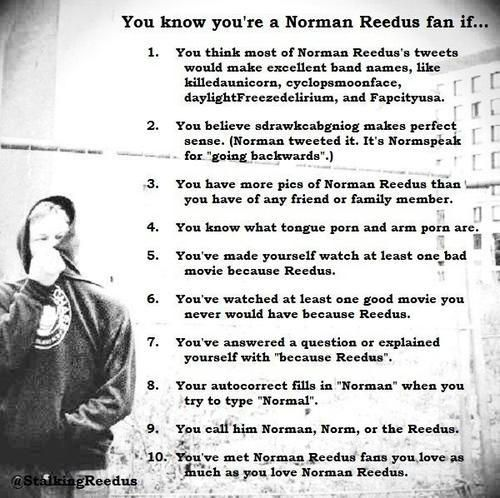Hi, my name is (state your name) and I am addicted to Norman Reedus. ;-)