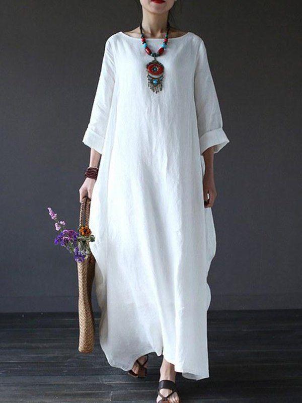 a828f5e369c Shop LINEN DRESSES - Linen Casual Solid 3 4 Sleeve LINEN DRESS online.  Discover unique designers fashion at StyleWe.com.
