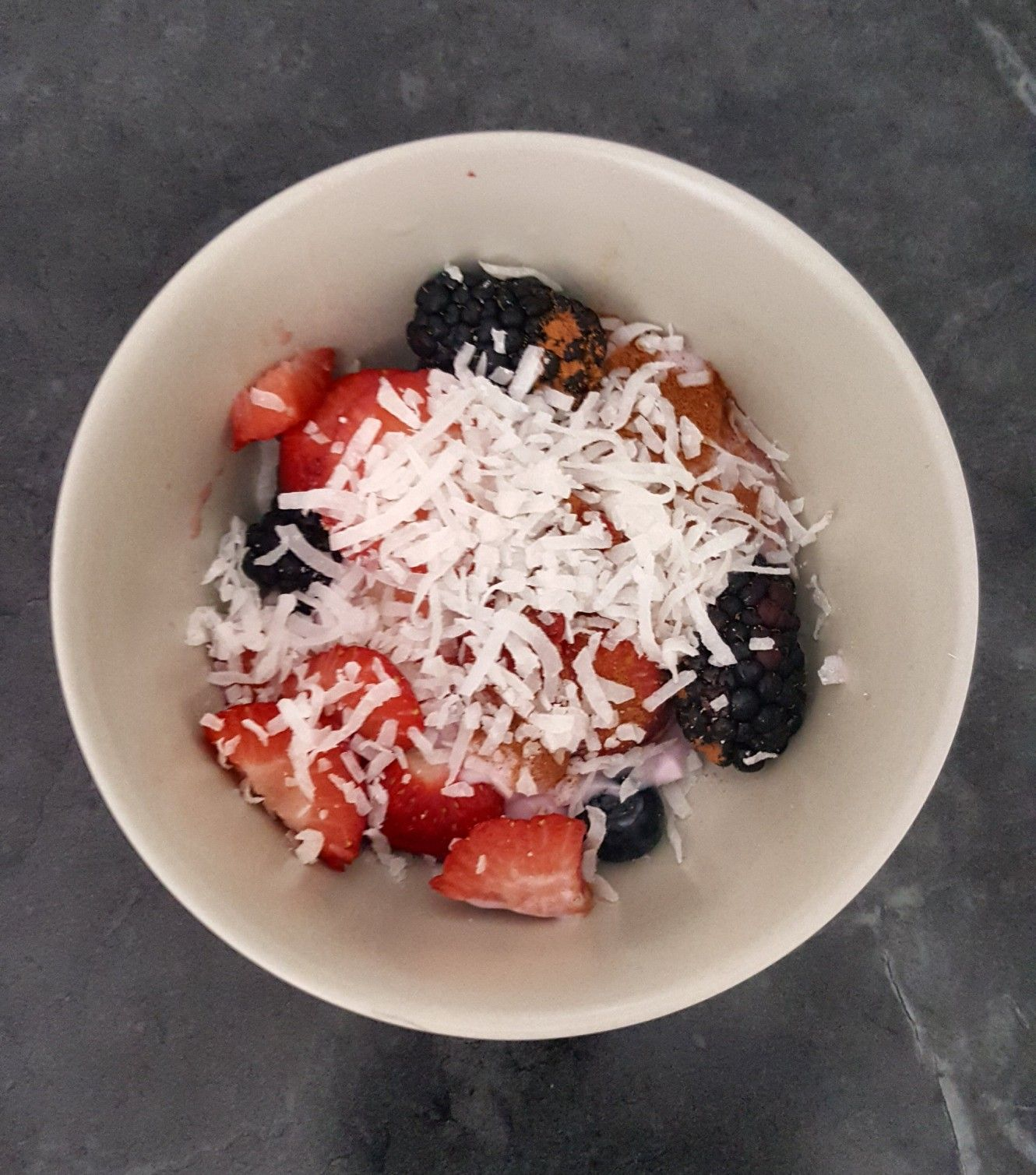 One of my prepped fruit containers with yogurt. Perfect ...