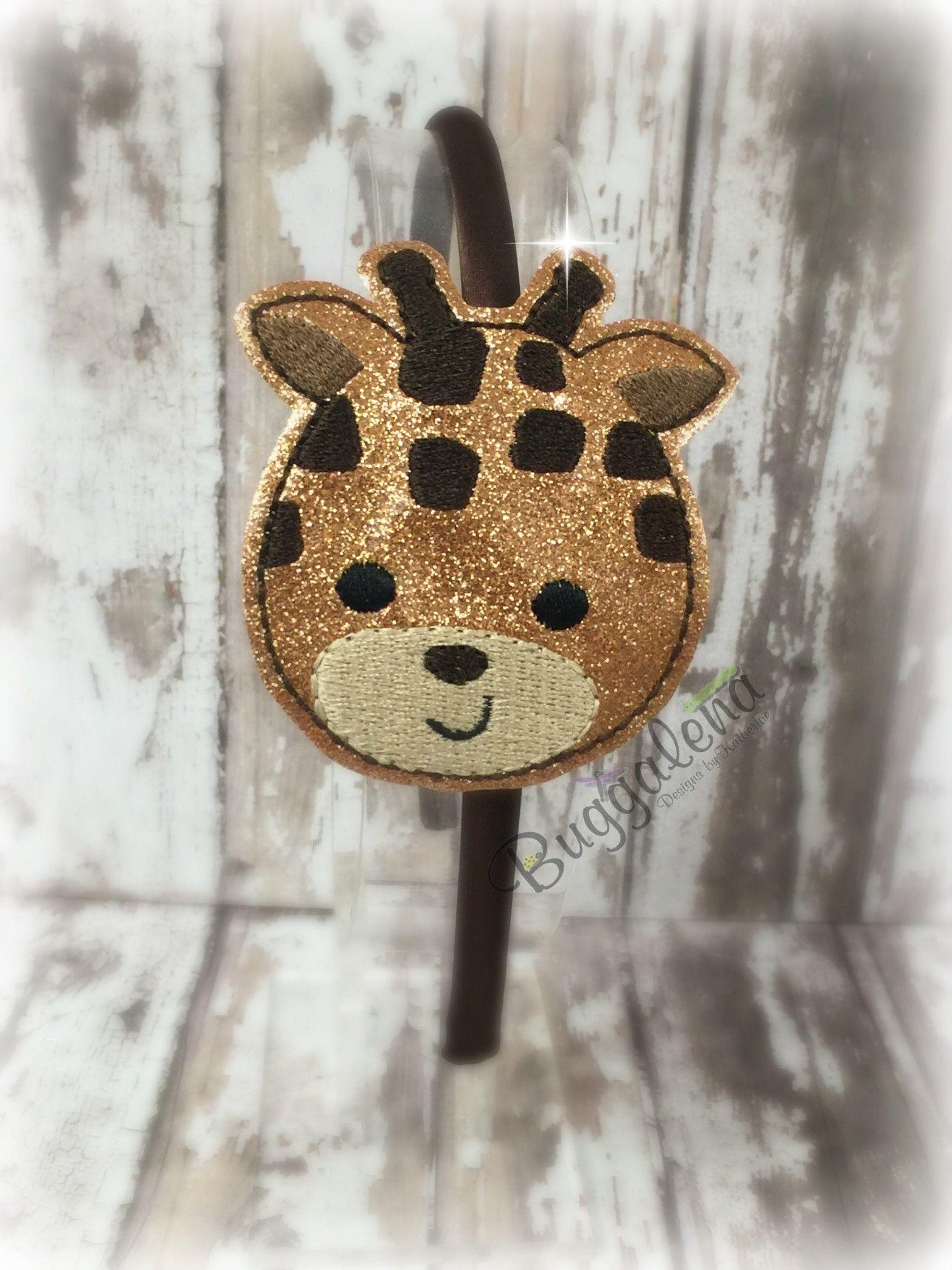 Giraffe BuggaBand Headband Slider Embroidery Design by Buggalena