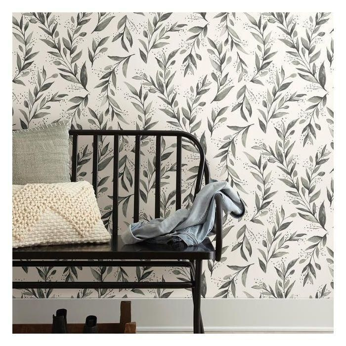 Olive Branch Peel Stick Wallpaper In Charcoal By Joanna Gaines For Y In 2020 Magnolia Homes Stripped Wallpaper Wall Coverings
