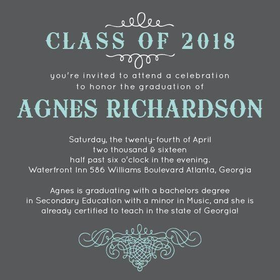 Swirling Scrolls Graduation Invitation