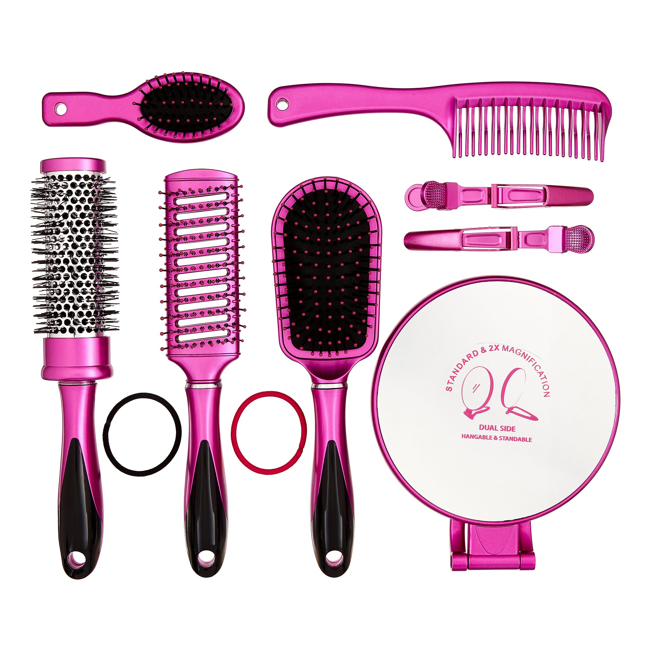 Hair Brush Styling Set with Magnifying Mirror, 16 pieces