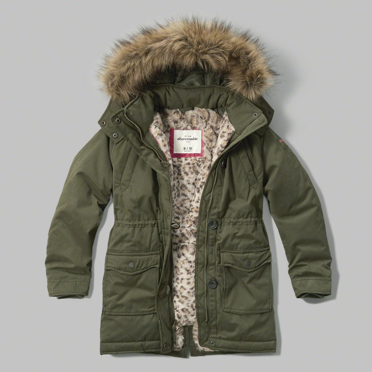Faux Fur Lined Parka Outerwear Jackets Kids Outfits Green Winter Coat [ 1200 x 1200 Pixel ]