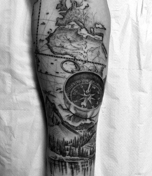 60 Hiking Tattoos For Men - Outdoor Trek Design Ideas -  Hiking Guys Tattoo Designs  - #Design #Hiking #Ideas #Men #Outdoor #tattooideasforguys #tattooideasformen #Tattoos #tattoosforwomen #Trek
