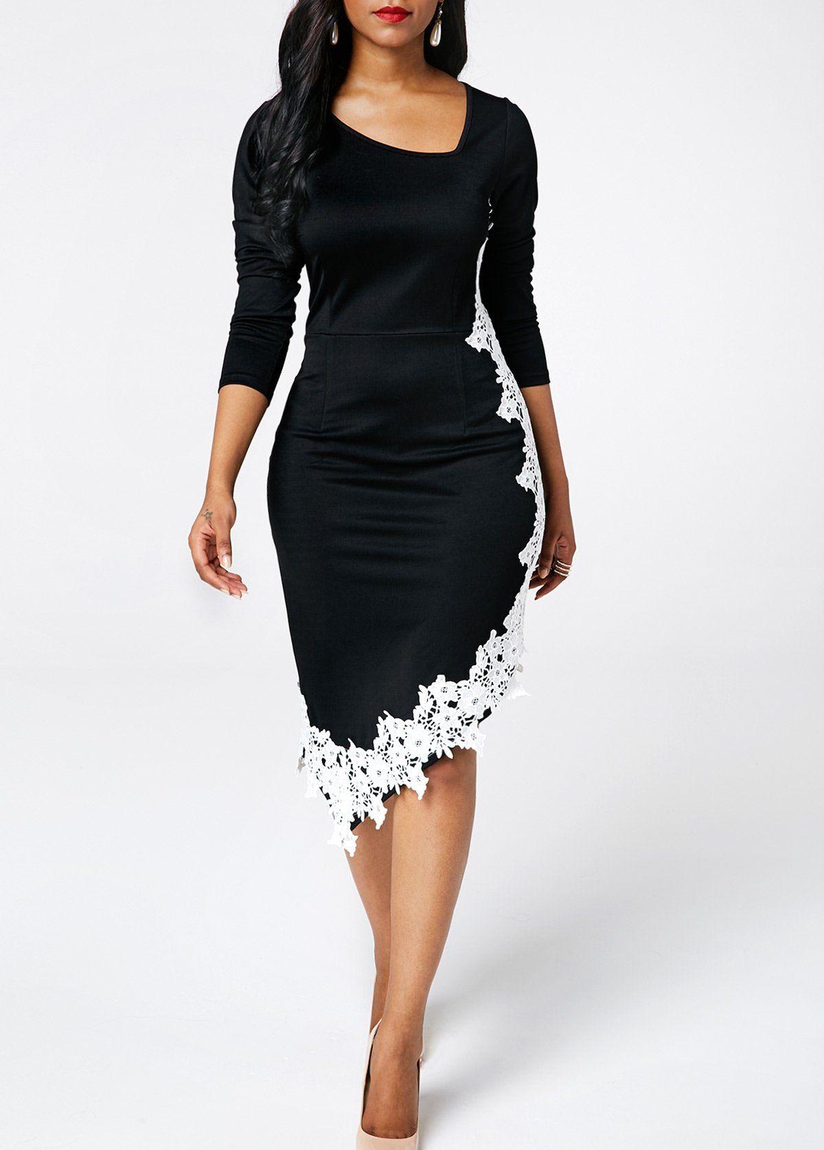 3a97fc29ba9 Asymmetric Hem Long Sleeve Bodycon Dress in 2019   Dresses & other ...