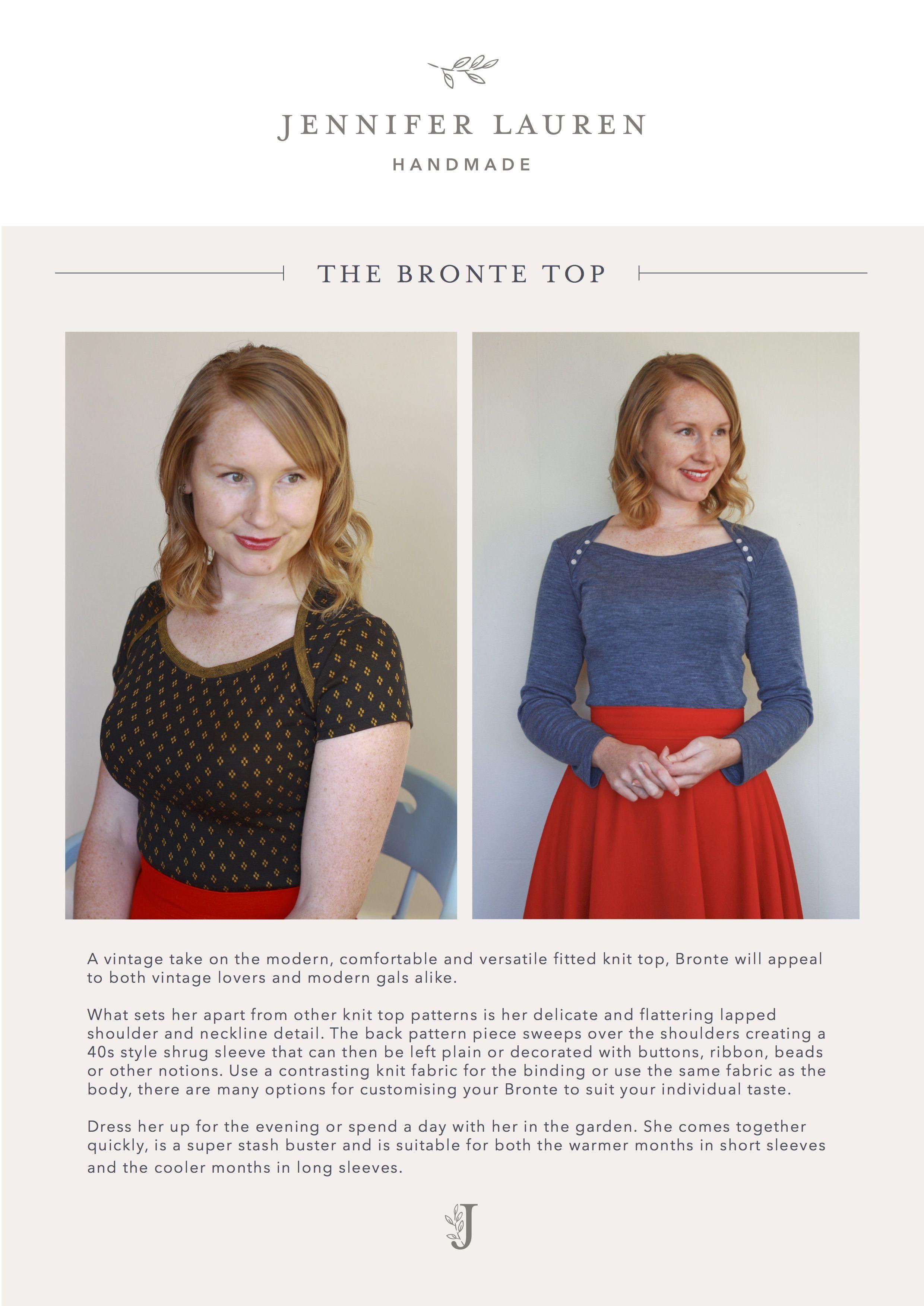 The Bronte Top – Jennifer Lauren Handmade | Apparel Sewing - Fabric ...