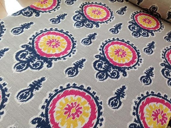 Home Decor FABRIC Ikat Medallion Navy Pink By TheNeedleShop