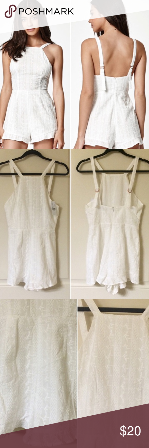White embroidered romper Bought from another posher, doesn't fit me :( it is perfectly clean and new Kendall & Kylie Dresses