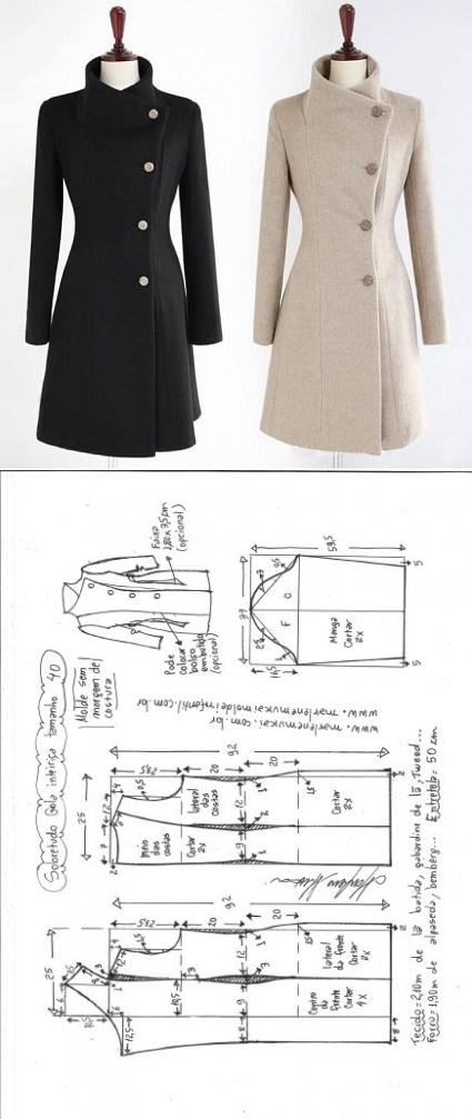 Sobretudo com Gola Inteiriça | DIY - molde, corte e costura ...