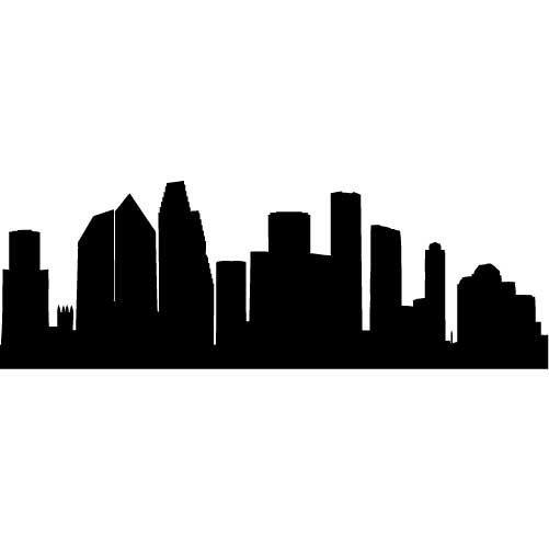 Houston Skyline Silhouette LARGE Vinyl Wall Decal By Wallstickz - Vinyl decals houston tx