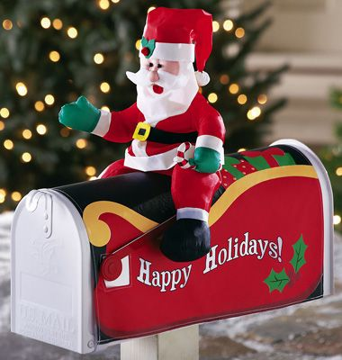 Collections Etc. Find unique online gifts at CollectionsEtc.com. Christmas  Mailbox DecorationsChristmas Decorating IdeasOutdoor ... - Santa Claus Mailbox Cover Outdoor Christmas Decoration MERRY
