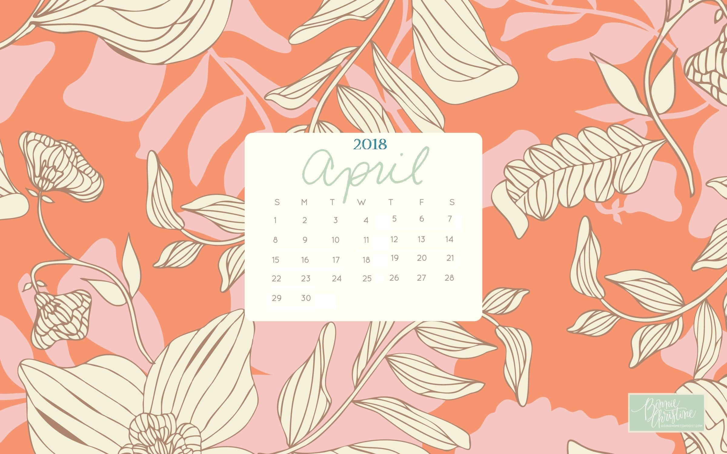 April 2018 Desktop Calendar Wallpaper Desktop Wallpaper Calendar