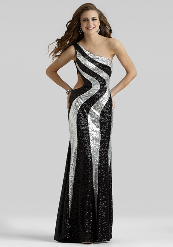 Black and Silver Gown 2394 | Silver sequin, Long prom dresses and ...