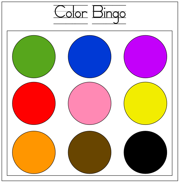 color bingo for camping - Color For Toddlers