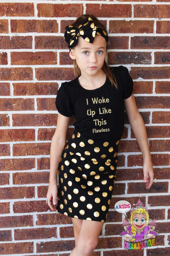 Girls gold black polkadot skirt pencil skirt boutique back to school toddler  girl skirts birthday summer clothes kids fashion - Girls Gold Black Polkadot Skirt Pencil Skirt By AKidsDreamBoutique