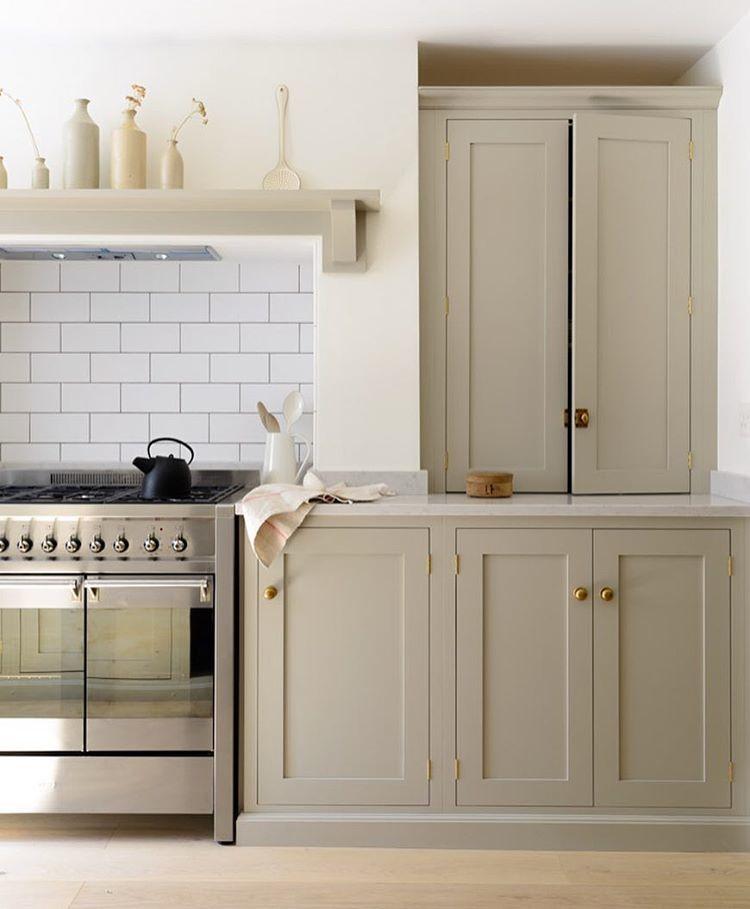 light grey neutral kitchen with subway tile via @citysage kitchen