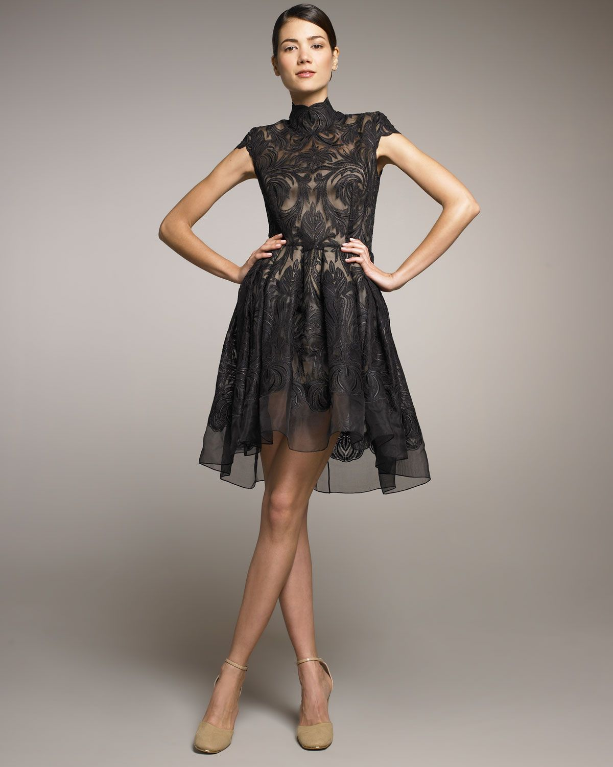 Stella Mccartney Lace Full Skirt Dress In Black