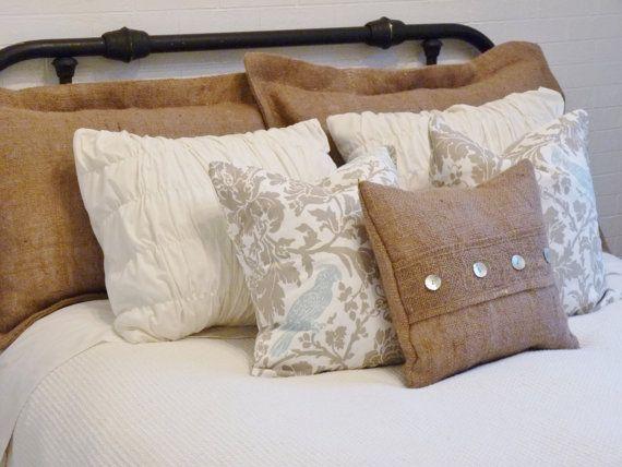 Burlap Pillows Ideas: Burlap Pillow Sham Standard Size by metzinteriors on Etsy    ,