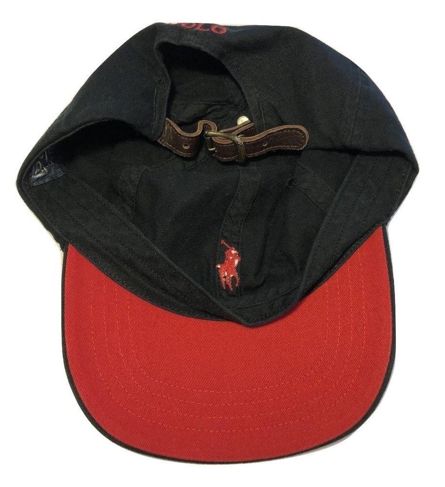 Vintage Polo by Ralph Lauren Black Red Brim Strapback Cap Dad Hat Leather  Strap  fashion a641ea22aafc