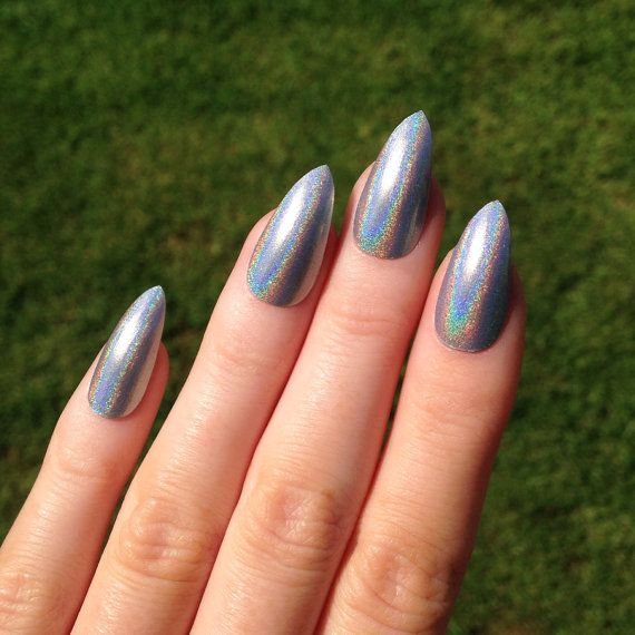 Holographic Coffin Nails Silver Fake Nail Stiletto Kylie Jenner Black Press On