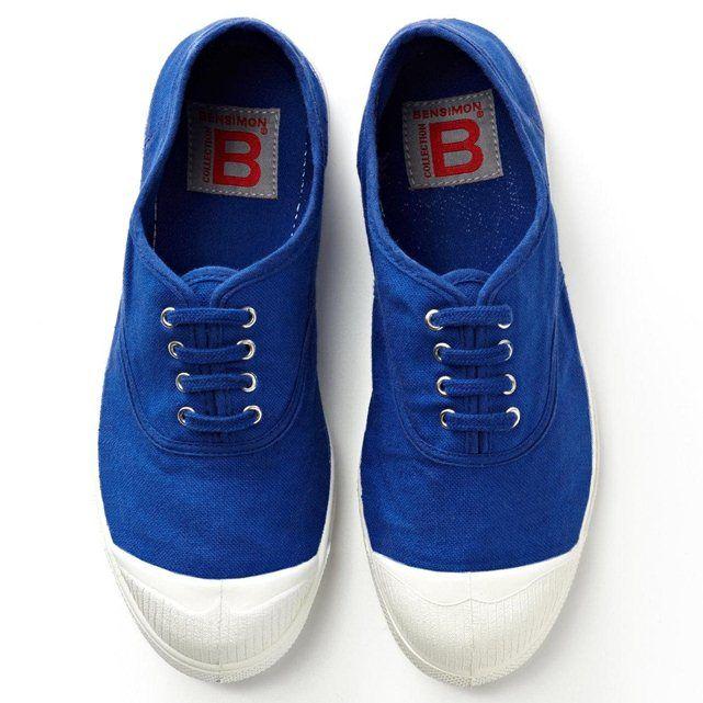 Tennis à lacets pur coton bleu vif Bensimon | La Redoute