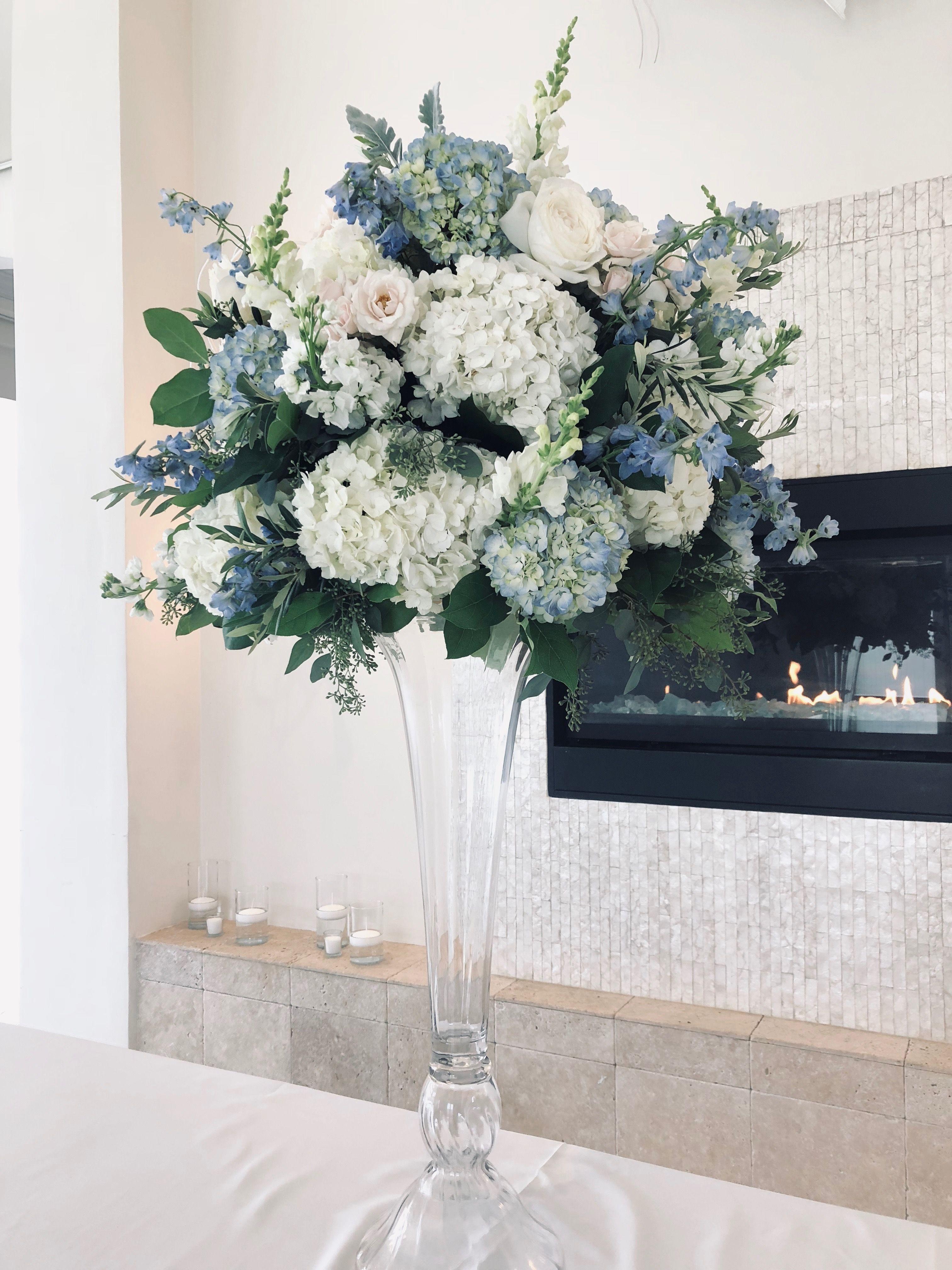 Blue And White At Belle Mer White Wedding Centerpieces Blue Wedding Centerpieces Blue Flower Centerpieces
