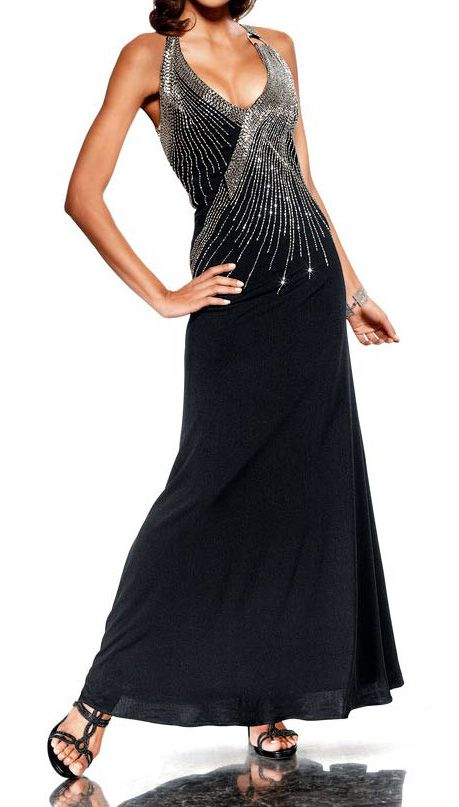 177d39f4902 Robe de soiree Femme noir longue avec strass marque   Heine par  UnCadeauUnSourire.com