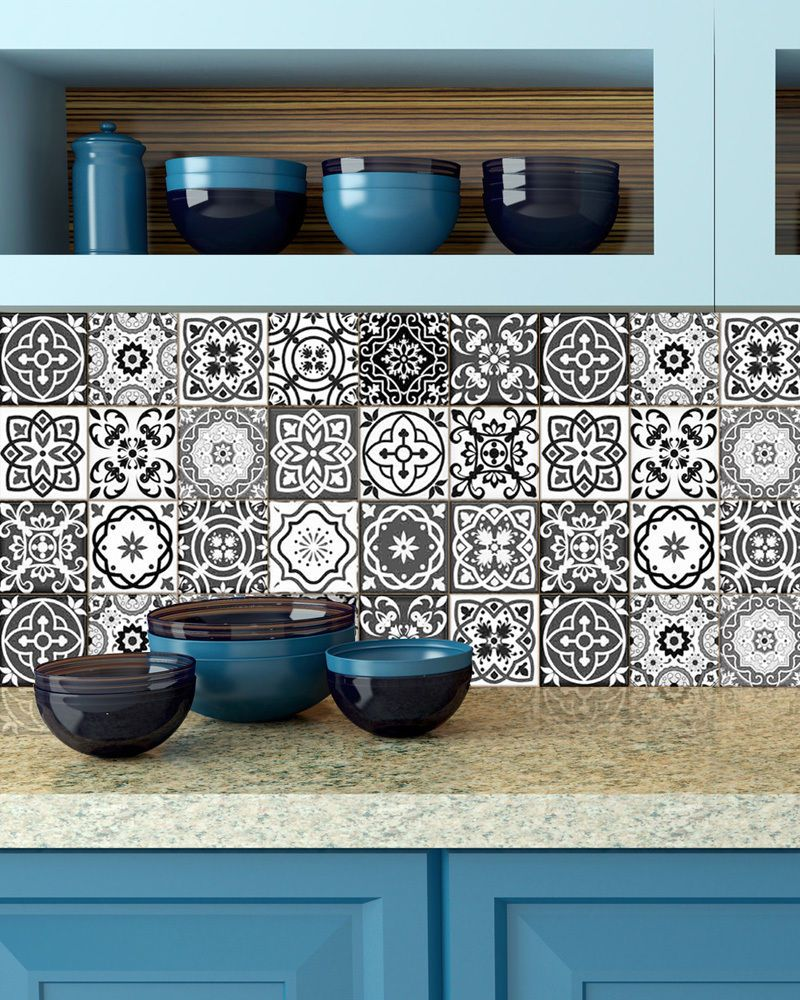 Kitchen PCS BlackuWhite decor tile Stickers wall decals Bathroom