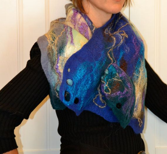 Felted blue green gray scarf by Tatiana123 on Etsy