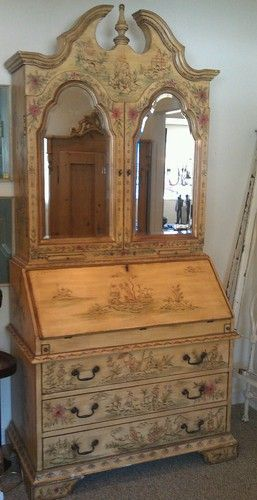 Alexander Julian Painted Chinoiserie Secretary Desk Bookcase
