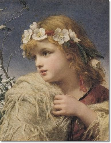 Unknown Artist - Victorian Art Artist - William Charles Thomas Dobson - Christmas Roses 1881 Original Size 14x18 Painting