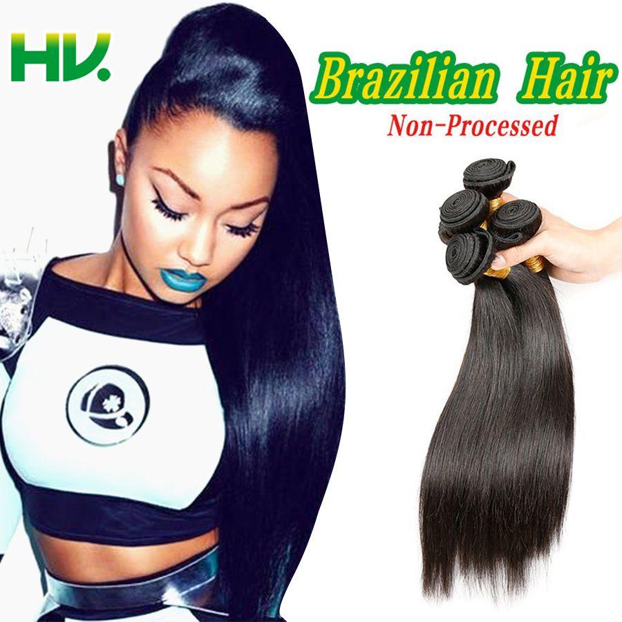 브라질 버진 헤어 스트레이트 3 번들 거래 인간의 머리 확장 알리 헤어 제품 처리되지 않은 8A 처녀 머리 직물