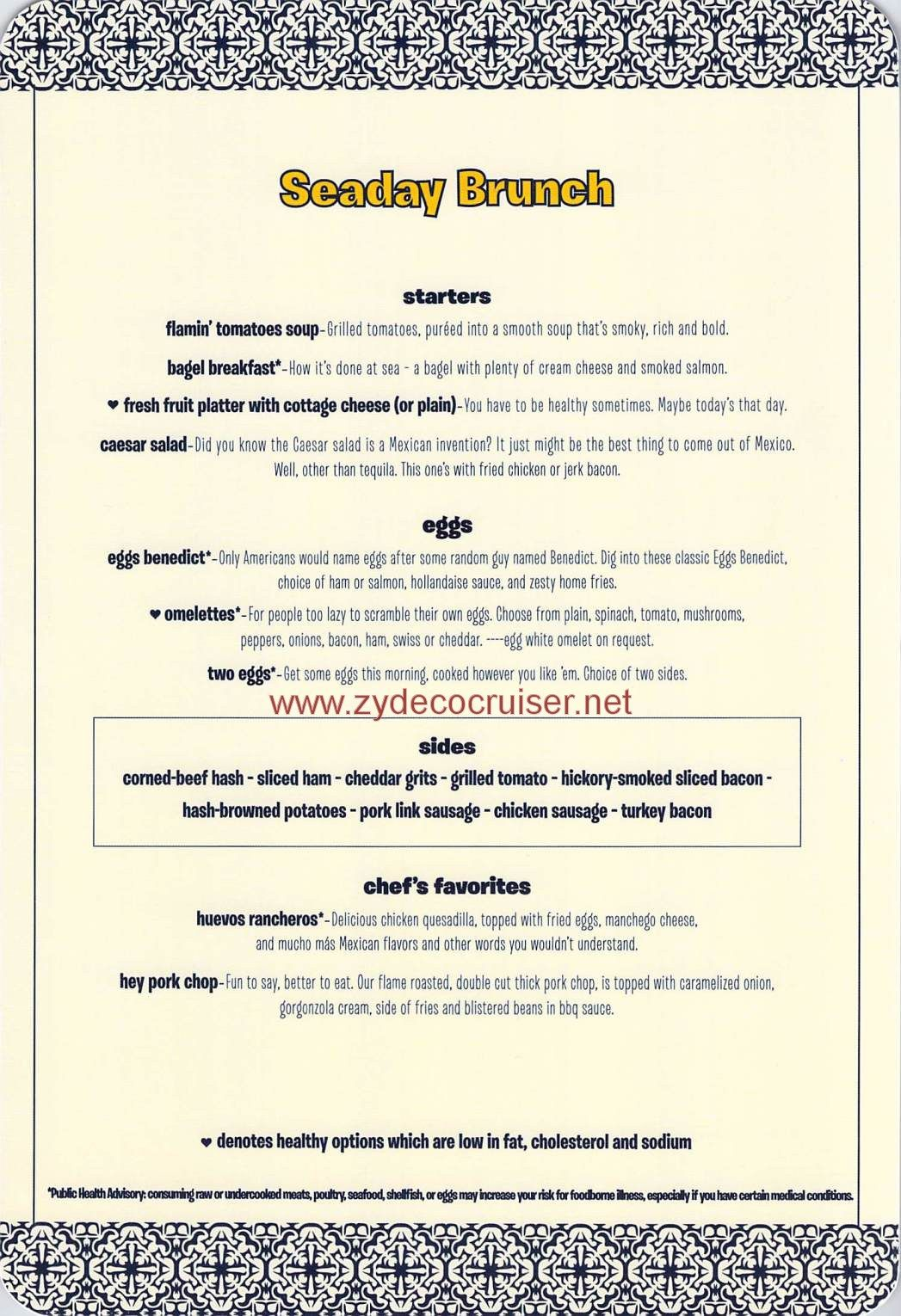001: Carnival Cruise Seaday Brunch, Menu Front | Family Time ...