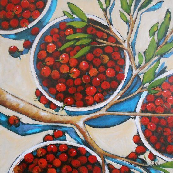 24x24 original painting - Bowls of Cherries