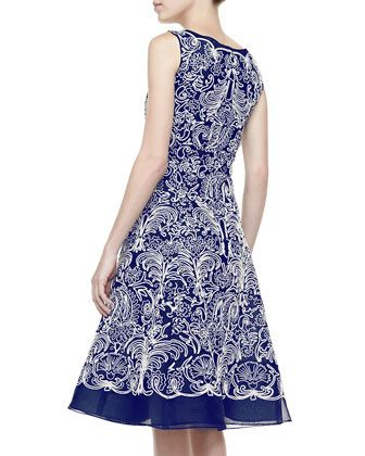 Oscar de la Renta Embroidered Silk Organza A-Line Cocktail Dress, Navy - Bergdorf Goodman