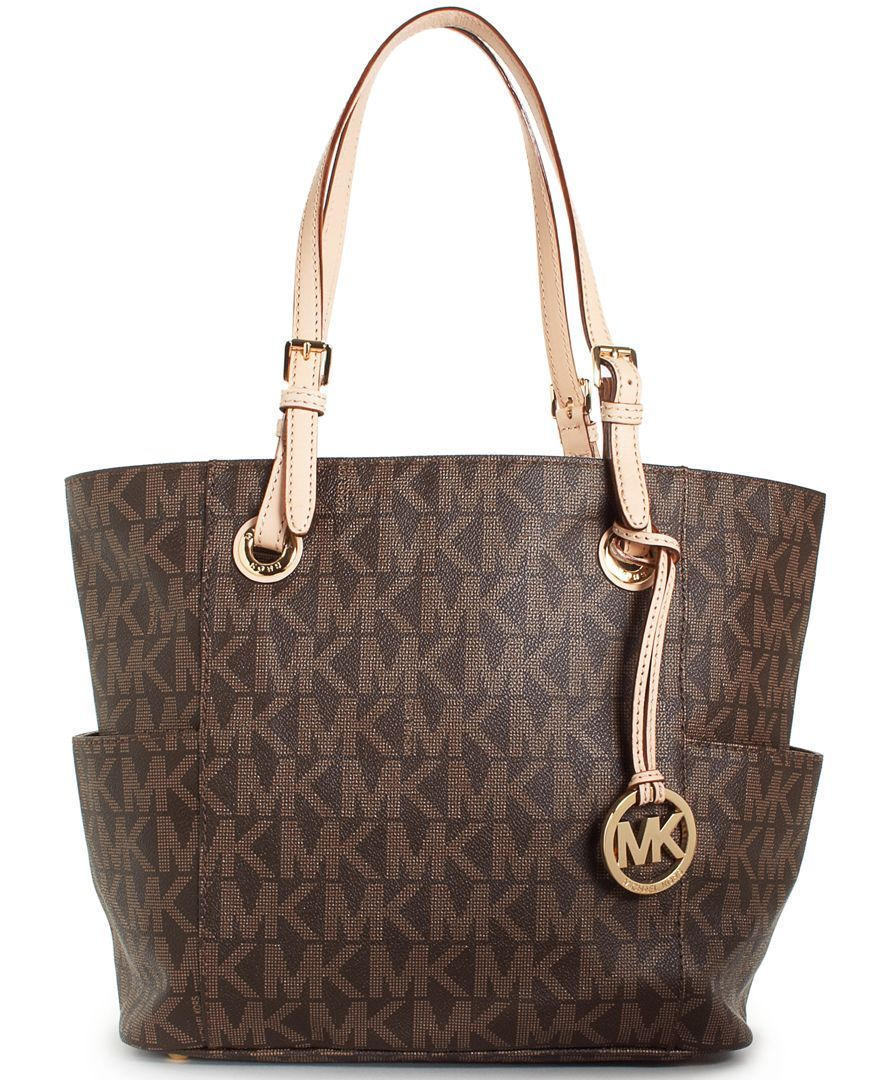 06c2369edef3 $198 MICHAEL Michael Kors Handbag, Signature Tote - - Macys. Imported *  Coated canvas; trim: leather MICHAEL Michael Kors Bag Double handles with  8