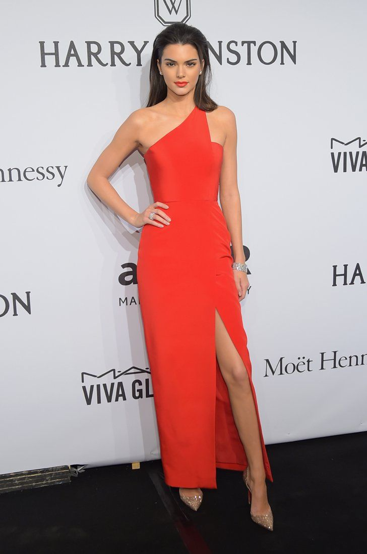 Pin for Later: How Kendall Is Conquering Fashion Month, 1 Day at a Time Kendall Kicked Off NYFW at the amfAR Gala in a One-Shouldered Red Romona Keveza Dress