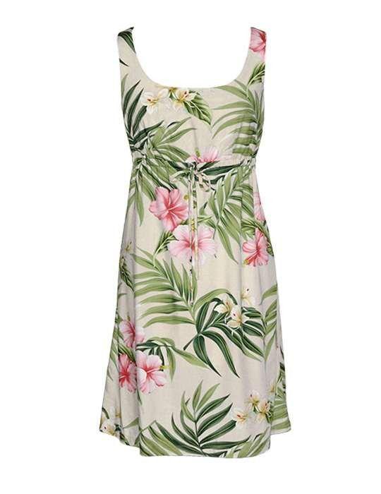 165cb45a15d Nalani Short Front Tie Adjustable Tank Rayon Hawaiian Dress