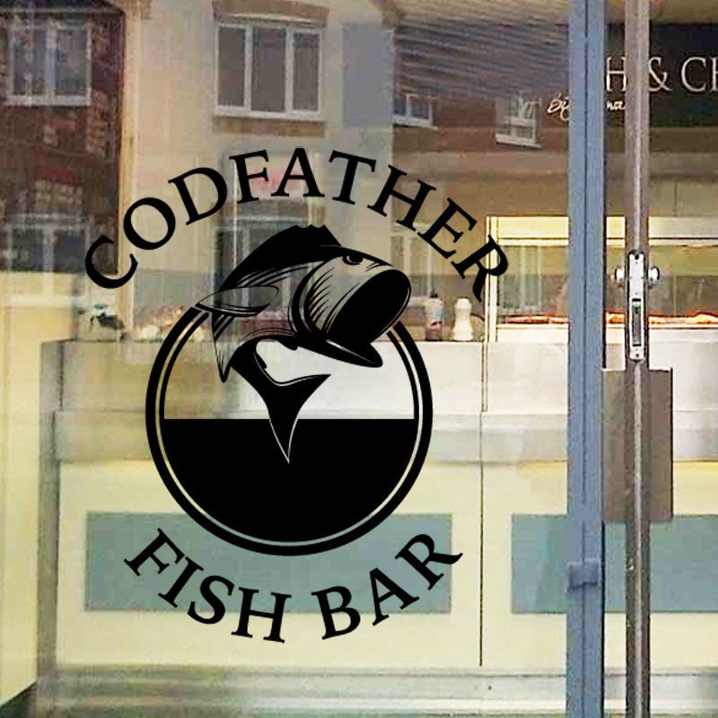 Personalised fish and chip shop sign window sticker wall decal fc5 in business office