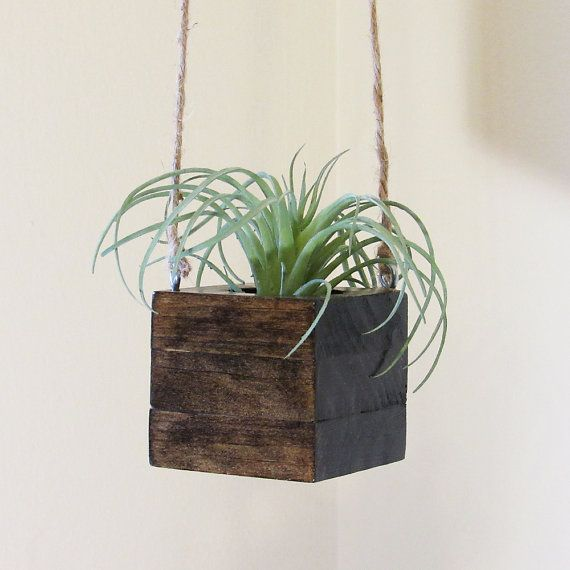 Small Wood Hanging Succulent Planter Modern Cube Plant Holder