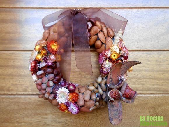 de frutos y flores secas para la puerta - flores secas