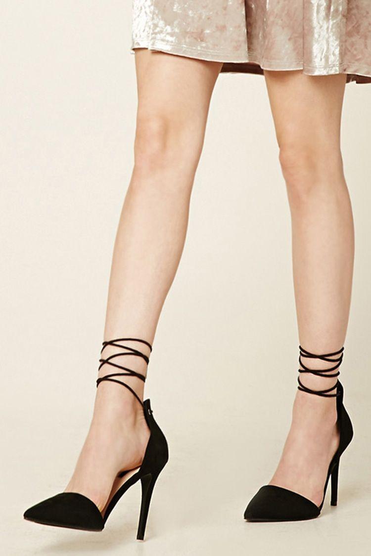 faux suede ankle-wrap heels black