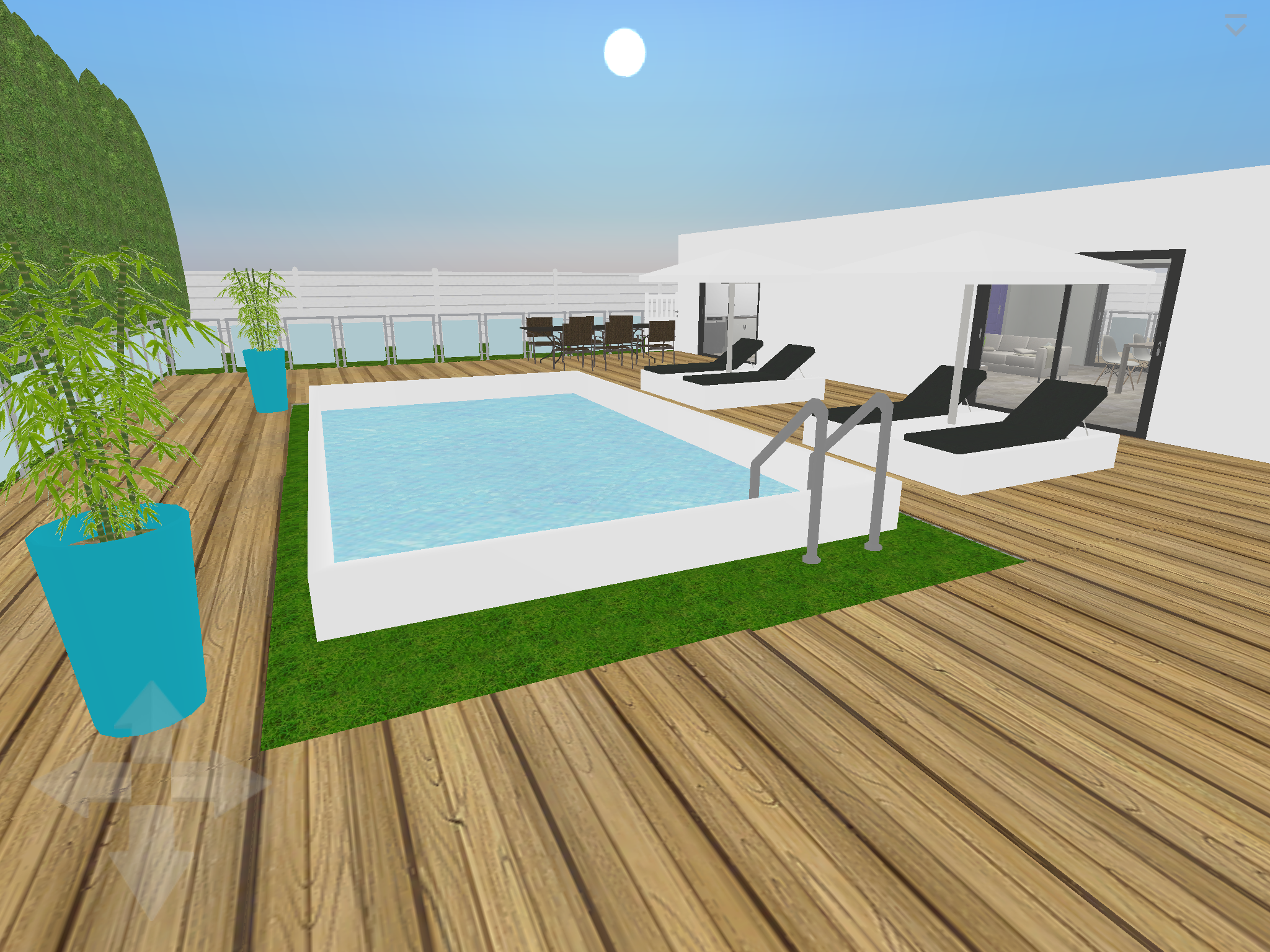 Plan 3D : Terrasse + Piscine Logiciel : Home Design 3D Gold