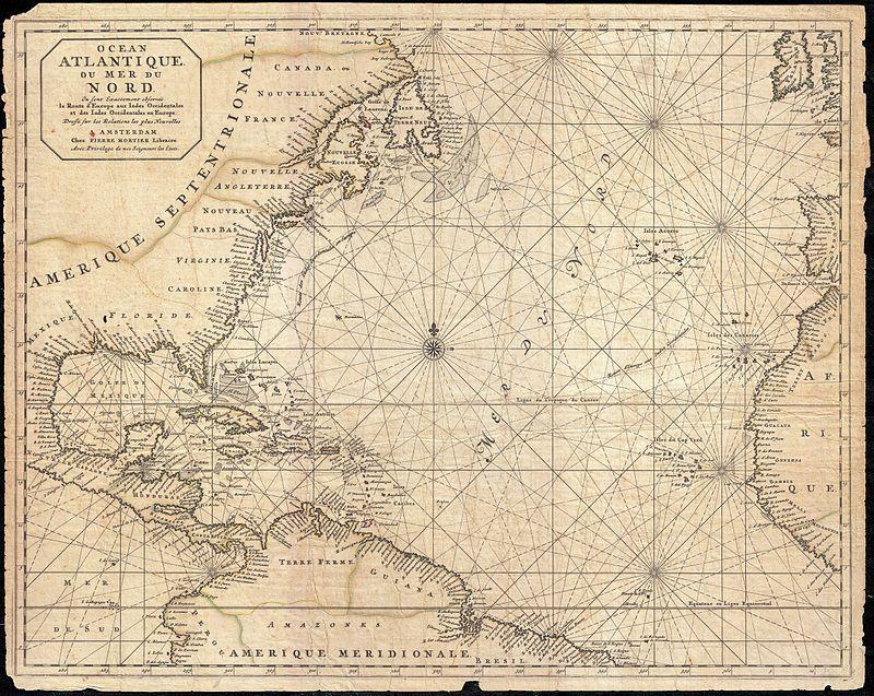 1683 Mortier Mapa da América do Norte, as Índias Ocidentais, e do Oceano Atlântico - Geographicus - Atlantique-mortier-1693.jpg