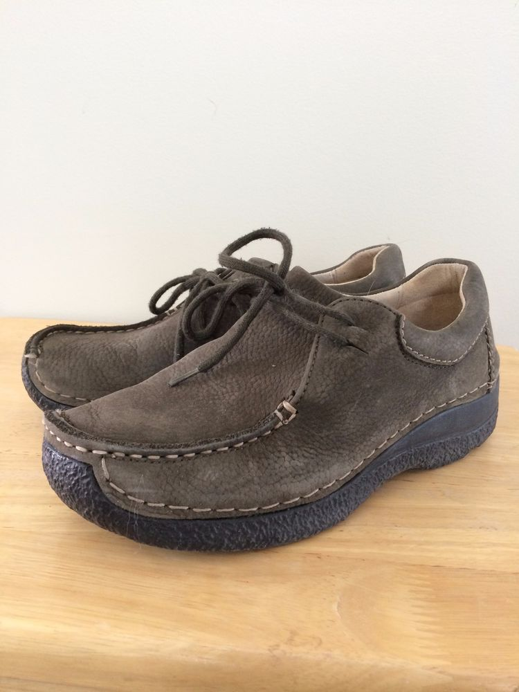 Wolky 6252 Seamy Roll Suede Shoe Designed for Walking Olive Green Grayish  Sz 37
