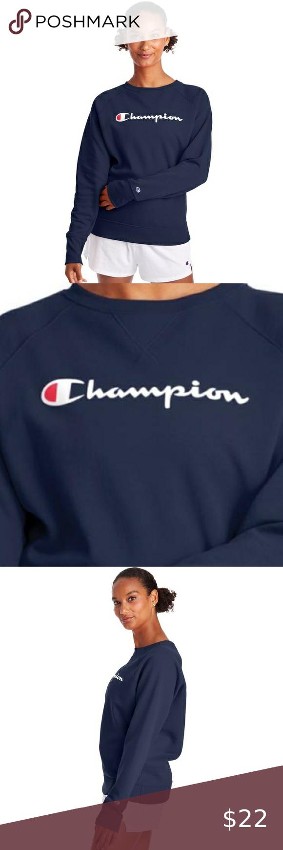 Champion Navy Blue Crew Neck Sweatshirt Size S Crew Neck Sweatshirt Blue Crew Sweatshirts [ 1740 x 580 Pixel ]