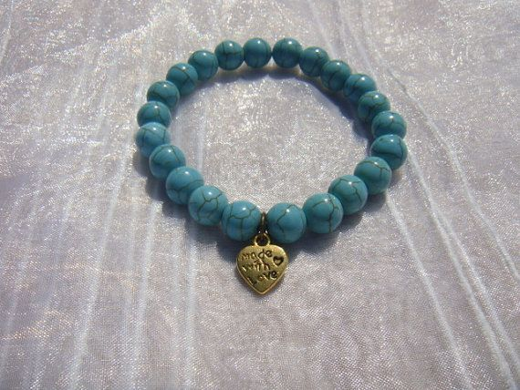 Friendship Bracelet 8mm Turquoise Beads With MADE by kikaystore, $9.99