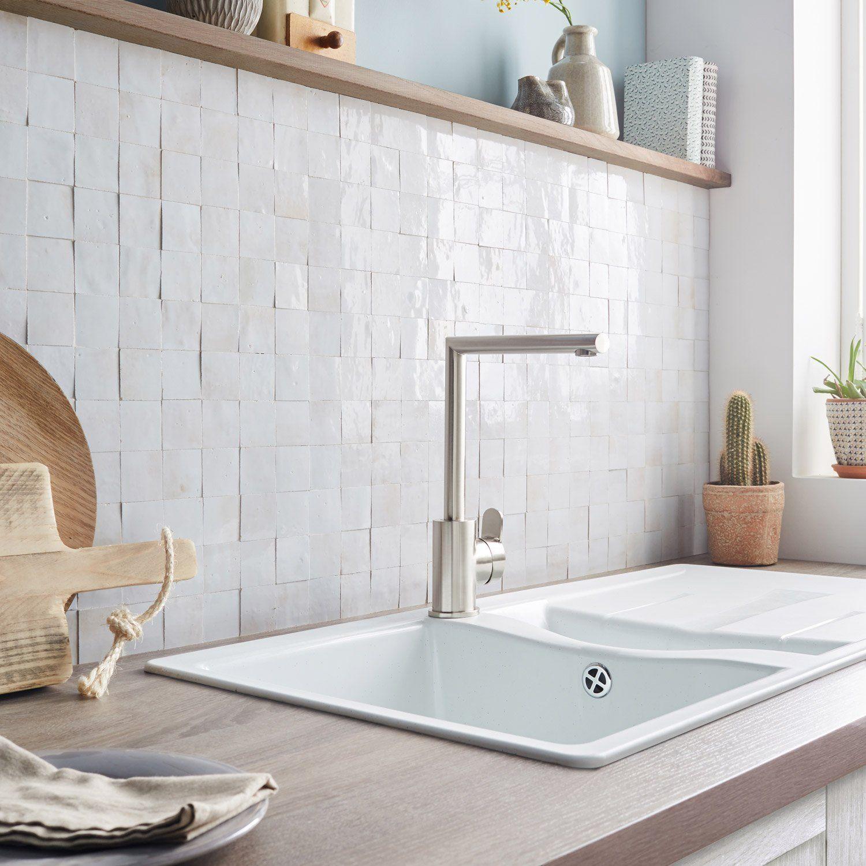 Mosaique Mur Zellige Blanc Fes 5 X 5 Cm Credence Cuisine Blanche Credence Cuisine Cuisine Tendance